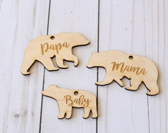 Mama Bear Ornament | Papa Bear Ornament | Baby Bear Ornament | Bear Ornaments