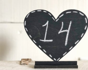 Chalkboard Table Numbers | Heart Table Numbers | Chalkboard Table Signs | Wedding Signs | Chalkboard Display Sign