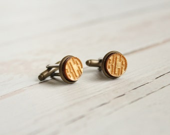 Monogram Cuff Links | Wood Cuff Links | Laser Engraved Cuff Links | Circle Monogram | Rustic Cuff Links