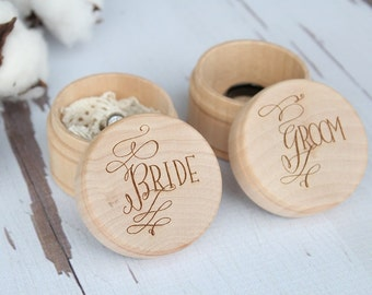 Bride and Groom Ring Box Set | Keepsake Ring Box | Engraved Rustic Wedding Ring Box | Free Shipping