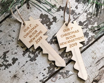 Our 1st Christmas In Our New Home Ornament | Our 1st Christmas In Our New Apartment Key Ornament | Key Ornament | 2019 Ornament | New Home