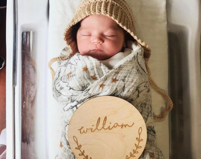 Featured listing image: Newborn Name Photo Prop   Woodland Nursery Sign   Baby Name Sign   Circle Engraved Name Sign