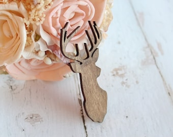 Buck Head Boutonniere | Rustic Wedding Boutonniere | Groomsmen Boutonniere | Country Wedding | Stag Head