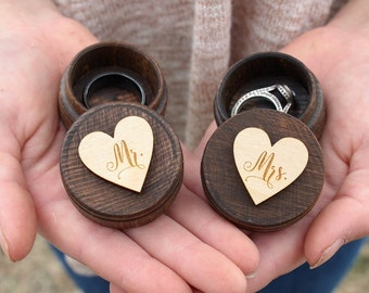 Mr and Mrs Ring Box Set Rustic Wedding Keepsake Ring Box