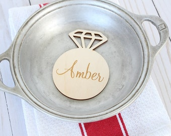 Diamond Ring Bridal Shower Place Card Engraved Wood Place Card