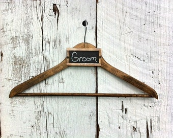 Tuxedo Hanger Wedding Dress Hanger Custom Hanger Rustic Wedding Hanger Wedding Dress Photo Prop Chalkboard Wedding Decor Wood Hanger Rustic