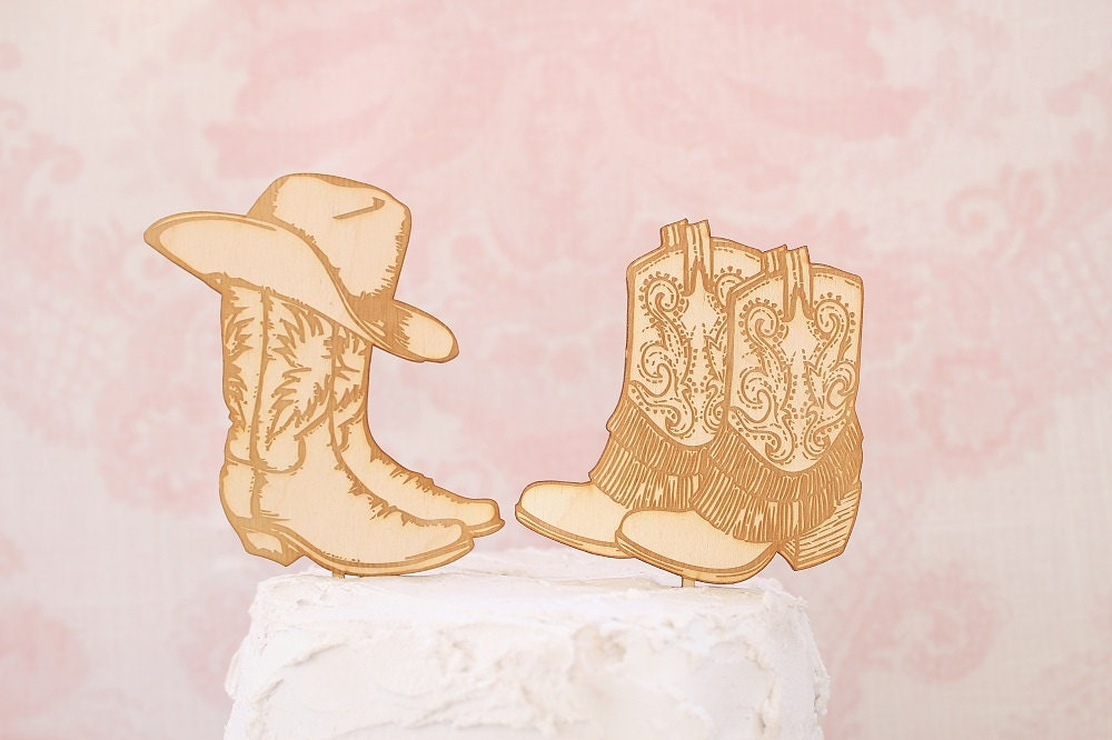 Country Western Wedding Cake Topper Cowboy Boot Cake Topper