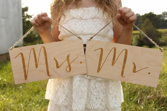 Mr & Mrs Chair Signs Wedding Chair Sign Rustic Wedding Signs Wood Mr Sign Wood Mrs Sign Wedding Photo Prop