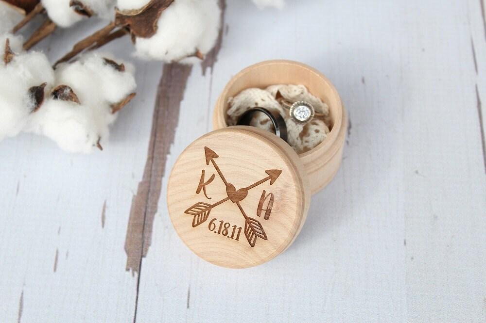 Arrow Ring Box Monogram Ring Box Beach Wedding Ring Box Ring