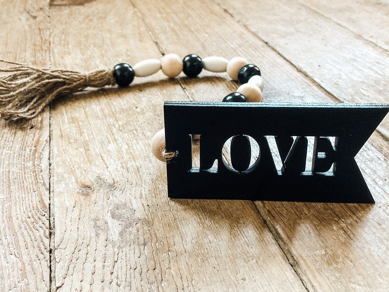Beaded Tassel Love Beaded Tassel Valentines Tiered Tray image 0