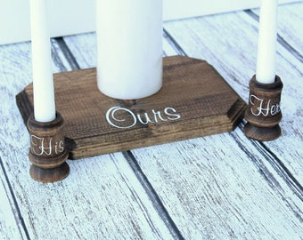 Rustic Wood Unity Candle Holder Display Rustic Chic Country Wedding Unity Candle Holder Wood Candle Cups Wood Plaque Candle Display Stand