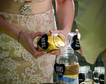 Rustic Sand Unity Jar Set Rustic Wedding Unity Ceremony Mason Jars Chalkboard Heart DIY Unity Sand Jar Mason Jar Wedding Unity Sand Jars