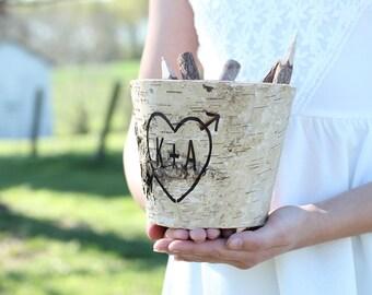 Birch Flower Pot Engraved Birch Vase Wedding Guest Book Pen Holder Centerpiece