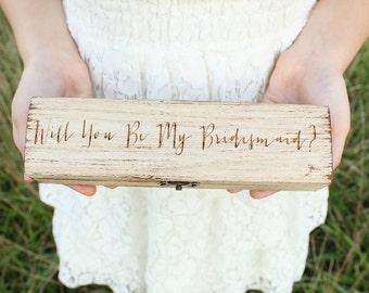 Will You Be My Bridesmaid Gift Box Custom Gift Box Bridal Party Gift Box Necklace Gift Box Bracelet Gift Box Custom Wood Gift Box
