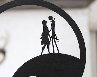 Jack and Sally Halloween Cake Topper | Halloween Wedding | Free Shipping
