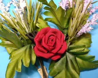 Red Rose Silk Kanzashi Hair Clip or Pin   Silk Flower Hair Clip   Brooch