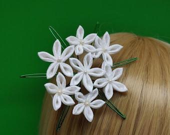 Queen Anne's Lace White Silk Kanzashi Hair Comb   Silk Flower Hair Pin