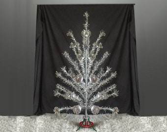 Mid Century 6 FT Pom Pom Aluminum Christmas Tree Vintage 1950s 1960s Xmas