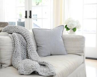 CHUNKY KNIT THROW: Chunky Knit Blanket, Wool Blanket, Knitted Blanket, Knit Blanket, Chunky Yarn, Big Chunky Knit Blanket, Faux Merino
