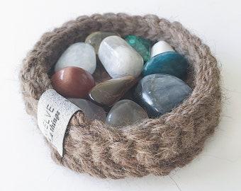CRYSTAL BASKET: Mini Basket, Storage Basket, Crystal Holder, Home Decor, Meditation Altar, Coasters, Baskets,Decor,Storage, Crystals