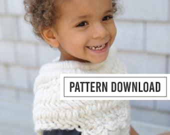 KNITTING PATTERN: Knit Cowl, Cowl, Poncho, Kids Poncho, Huntress, Girls Poncho, Boys Poncho, Childs Poncho, Pattern, Knitting, Crochet