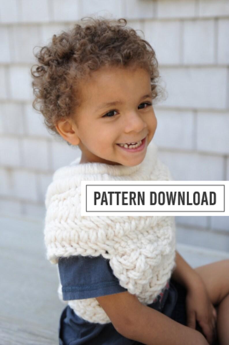 KNITTING PATTERN: Knit Cowl Cowl Poncho Kids Poncho image 0