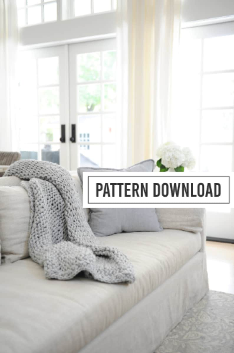 KNITTING PATTERN: Blanket Pattern Blankets and Throws Chunky image 0