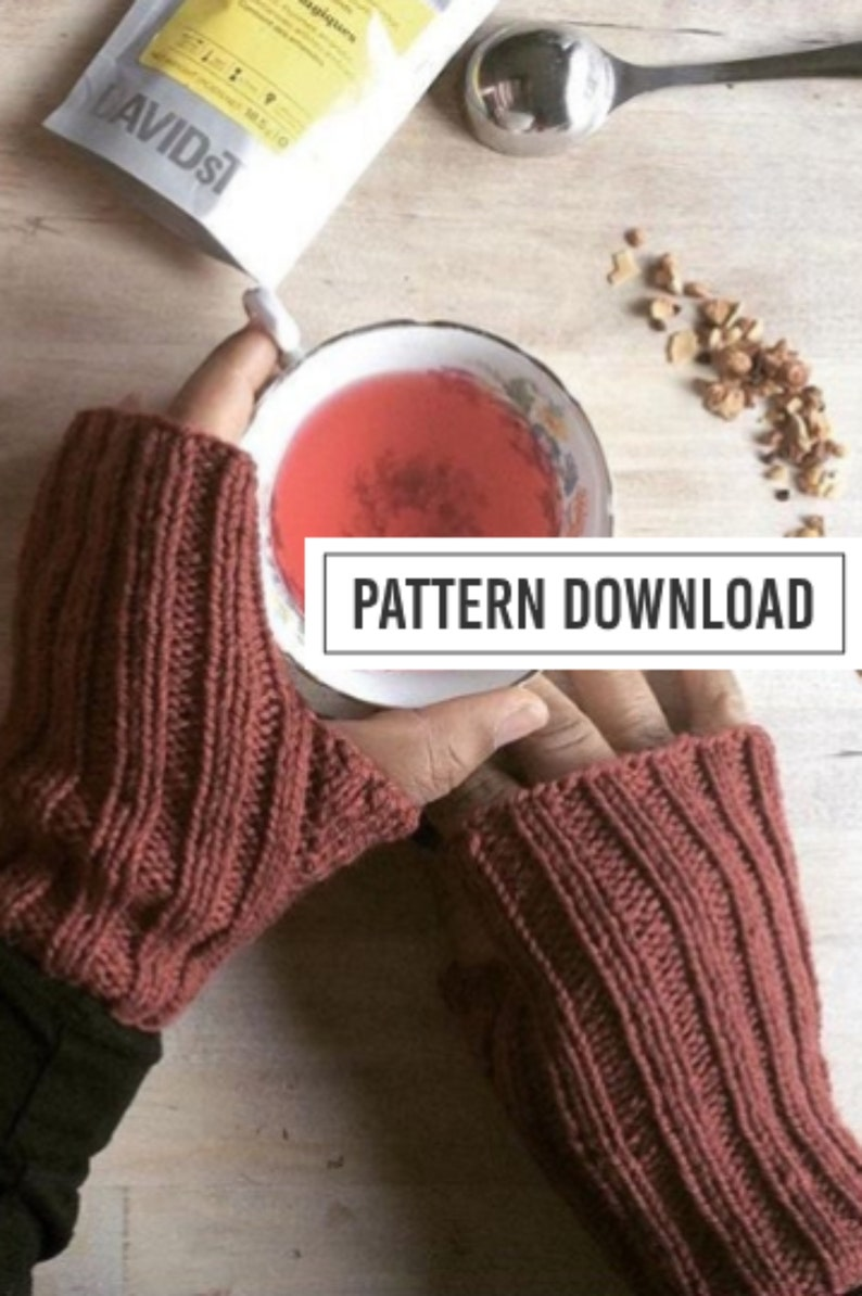 KNITTING PATTERN // Fingerless Gloves Fingerless Mittens image 0