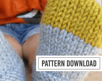 KNITTING PATTERN: Easy Colour Block Slippers // Knit Slippers // Crochet Slippers // Slipper Pattern // Handmade Slippers