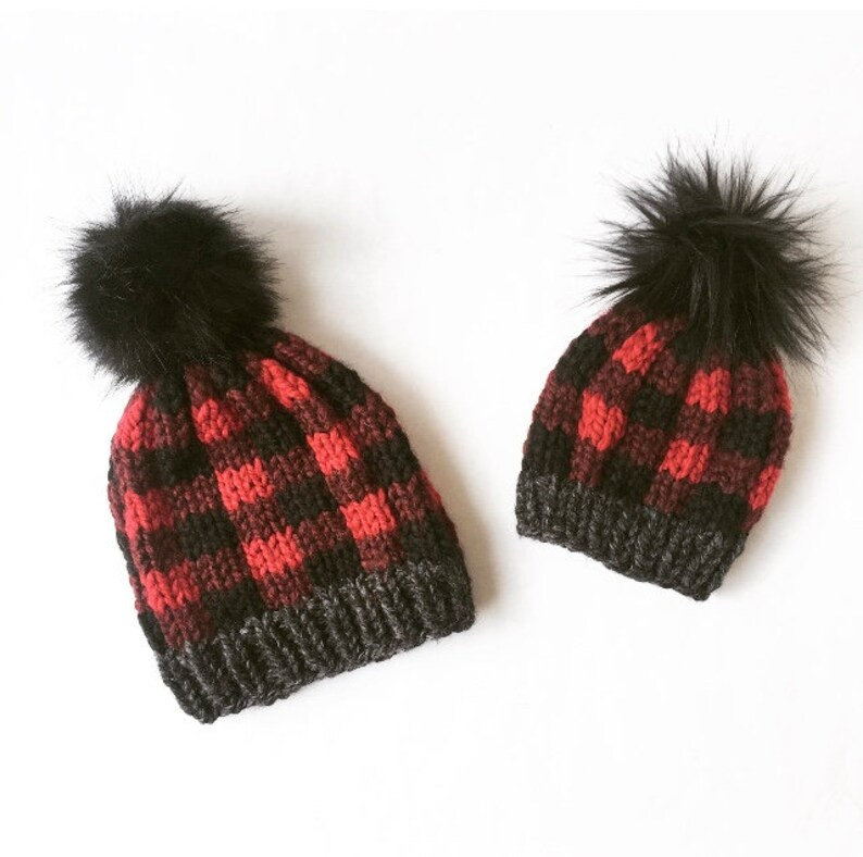 MOMMY AND ME: Plaid Hat Lumberjack Beanie Winter Hat Winter image 0