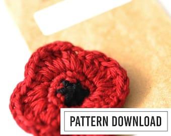 CROCHET PATTERN: Remembrance Day // Veterans Day // Red Poppy // Poppy Pin // Crochet Poppy // Crochet Poppy Pin // Poppy Pattern