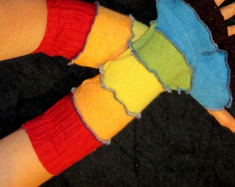 Arm-warmers! finger-less mittens, hand warmers! Bright RAINBOW colors wool knit. upcycled. Perfect for Christmas