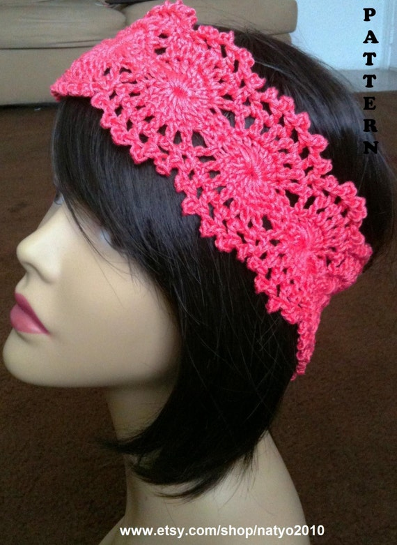 Instant Download Crochet Lace Headband Pattern Etsy