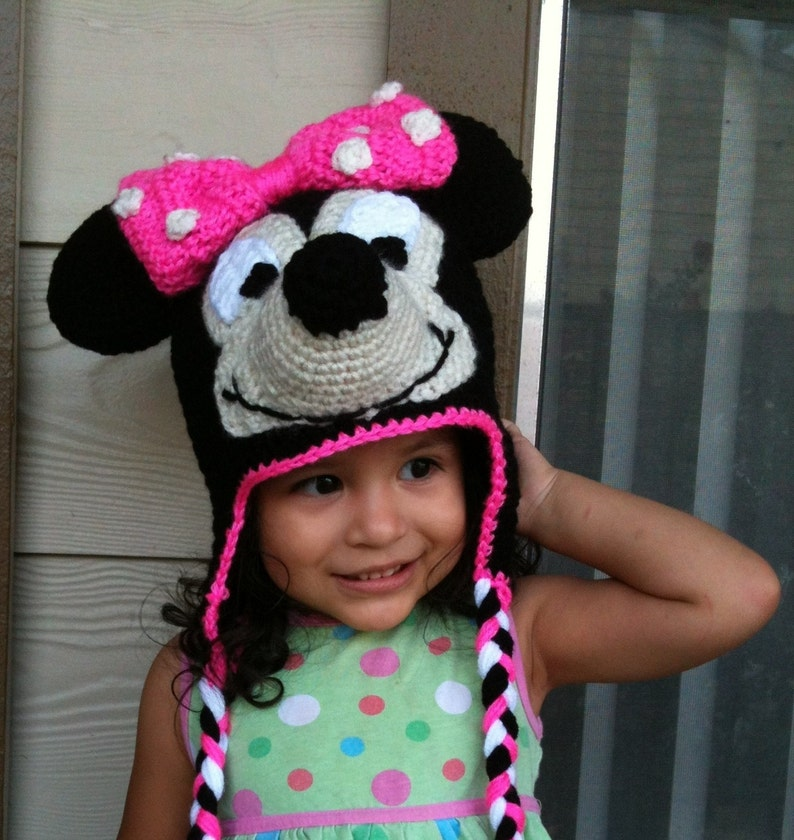 INSTANT DOWNLOAD Minnie Mouse Crochet Beanie Ear-flaps PDF Pattern ... cd9491ed01d