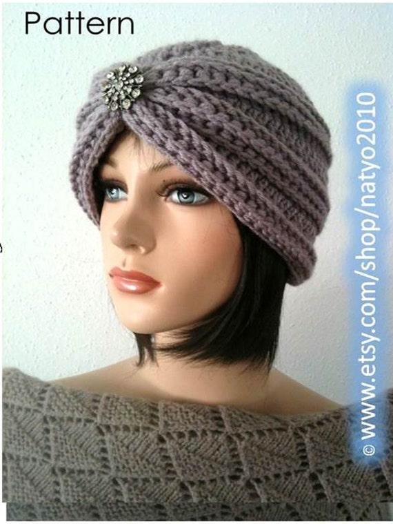 Instant Download Turban Style Rhinestone Beanie Crochet Etsy