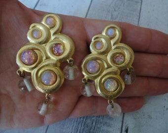 Massive YOSCA Signed BAROQUE PEARL /& Diamant\u00e9 Crystals Huge Shield Clip Earrings Gold Metal Vintage Designer Runway Couture Big Statement