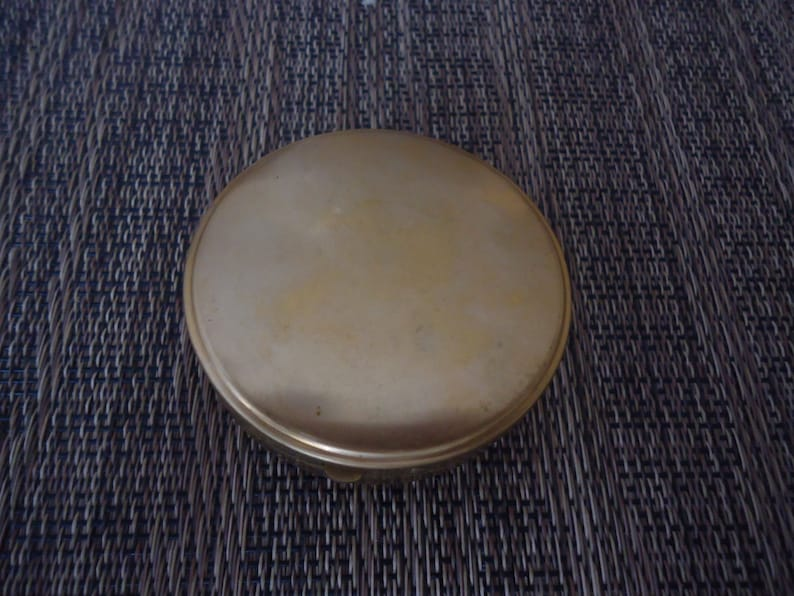 New Old Stock Brass Compact with Brass Victorian Woman and Filigree Design 2 12 Wide