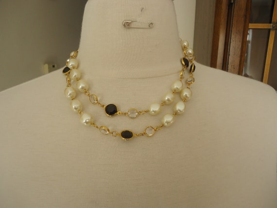 37 Long Long Beaded Glass Faux Pearl and Crystal Necklace