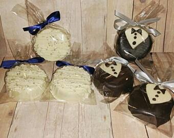 1 Dz Bride and Groom oreos wedding favors Shower favors wedding pretzels wedding oreos wedding cake pops
