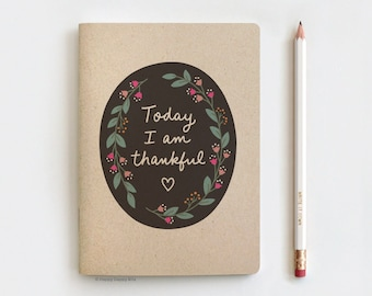 """Gratitude Journal Today I am Thankful, LIMITED EDITION Recycled Floral Notebook & Pencil Set - Stocking Stuffer Gift, Thanksgiving Gift 5x7"""""""