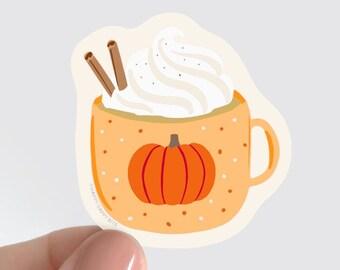 Pumpkin Spice Latte Sticker, Waterproof Vinyl Halloween Food Sticker, Eco-Friendly PVC-Free Soft Matte, Green Sticker, 2 inch