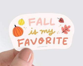 Fall is My Favorite Sticker, Ecofriendly Waterproof Vinyl Leaves Pumpkin Sticker, Eco-Friendly PVC-Free Soft Matte, 3 x 1.75 inch
