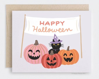 Funny Cat Halloween Card - Cute Carved Pumpkin Patch Card, Witchy Wizard Recycled Card, Orange Red Pink Pumpkins