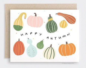 Fall Card, Happy Autumn Card,  Illustrated Gourds Cards, Pumpkin Card, Recycled Card