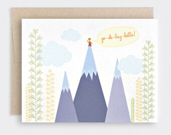 Hello Card - Recycled Card, Woodland, Yodel, Camping, Mountain Climbing, for Friend - Yo-de-lay-hello