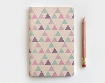 Triangles Recycled Journal & Gold Foil Pencil Set - Mini Large or Midori, Geometric Notebook, Purple - Stocking Stuffer