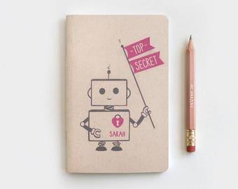 Mini Journal - Robot Party Favor, Top Secret Robot Personalized Notebook Journal & Pencil Set, Kawaii Recycled Stocking Stuffer, 5 Colors