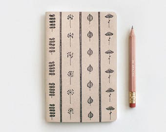 Gardening Gift Brown Recycled Journal & Pencil Set, Illustrated Leaves and Flowers - Stocking Stuffer Floral Journal