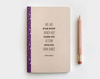 Notebook Star Constellation Galaxy Journal, Brown Recycled Notebook & Pencil Set, Stocking Stuffer - Carl Sagan Cosmos