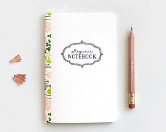 Personalized Floral Notebook & Pencil Set, Mini Large or Midori, Gift for Teachers - 3 Patterns, 3 Sizes - Customized Gift